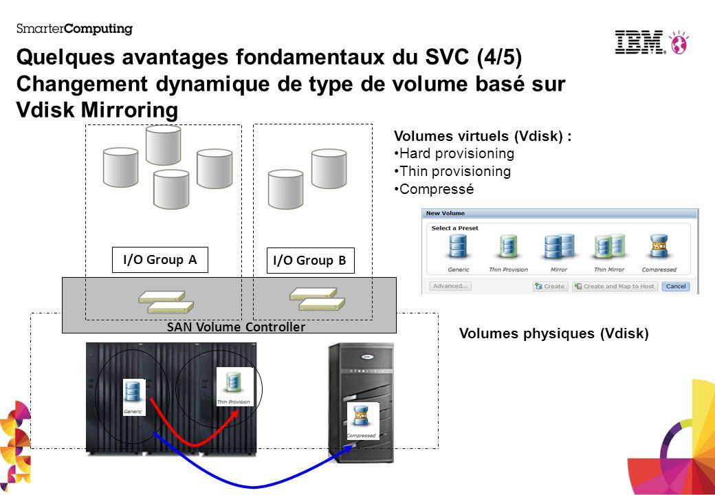 I/O Group A I/O Group B SAN Volume Controller Quelques avantages fondamentaux du SVC (4/5) Changement dynamique de type de volume basé sur Vdisk Mirro