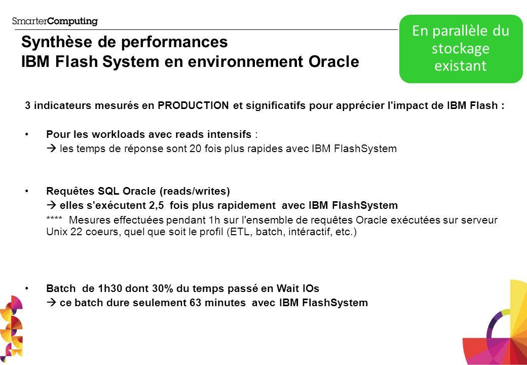 Synthèse de performances IBM Flash System en environnement Oracle 3 indicateurs mesurés en PRODUCTION et significatifs pour apprécier l'impact de IBM