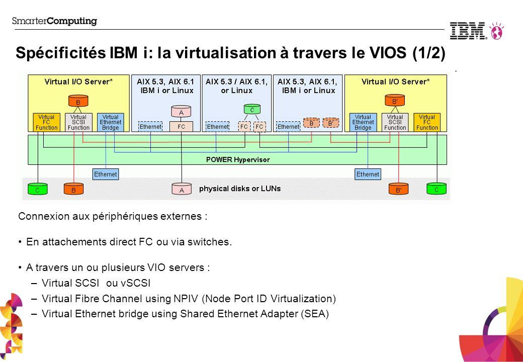 Spécificités IBM i: la virtualisation à travers le VIOS (1/2) Connexion aux périphériques externes : En attachements direct FC ou via switches. A trav