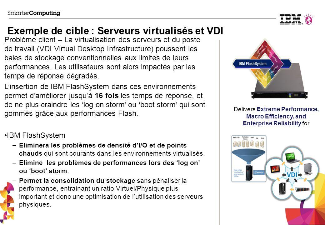 Connexion de FlashSystems sur le SAN AIX 6.1 TL7 & TL8 + IV38225 (support par MPIO des volumes Flash) AIX 7.1 TL2 +IV38226 (support par MPIO des volumes Flash) VIOS 2.2.2 (w/ client AIX 6.1, AIX 7.1, RedHat 5, RedHat 6) Windows Server 2008 R2 SP1+ Windows Server 2012 SUSE ES 10 SP4 SUSE ES 11 SP2 RedHat EL 5.9 RedHat EL 6.3 & 6.4 VMware ESX 4.1 U3 VMware ESX 5.1 Matrice de compatibilité Connexion de FlashSystems sous SVC SVC 6.4.1.5 et versions ultérieures http://www-03.ibm.com/systems/support/storage/ssic/interoperability.wss