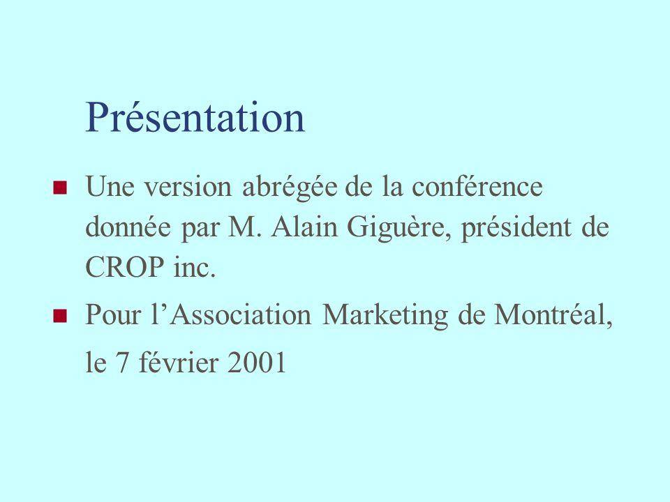 Présentation Une version abrégée de la conférence donnée par M. Alain Giguère, président de CROP inc. Pour lAssociation Marketing de Montréal, le 7 fé