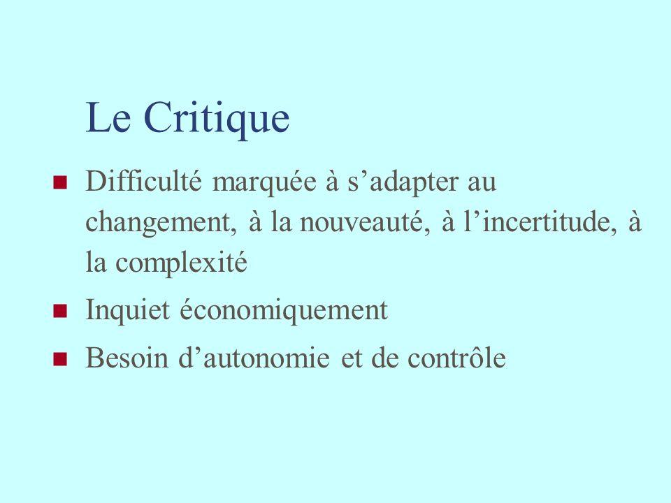 Le Critique Difficulté marquée à sadapter au changement, à la nouveauté, à lincertitude, à la complexité Inquiet économiquement Besoin dautonomie et d