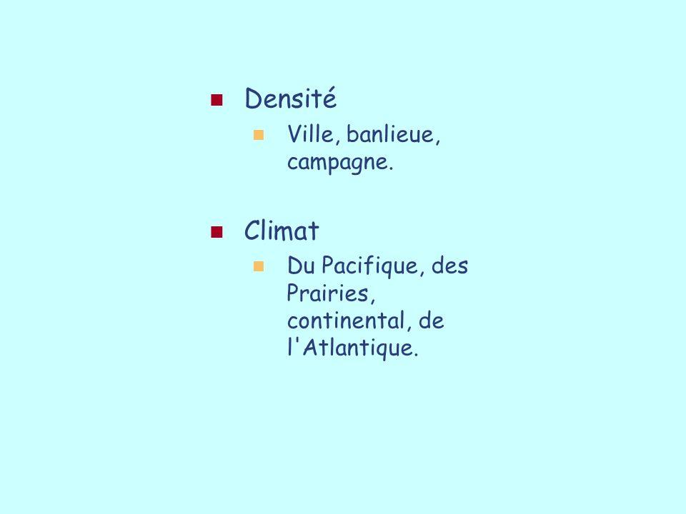 Densité Ville, banlieue, campagne. Climat Du Pacifique, des Prairies, continental, de l'Atlantique.