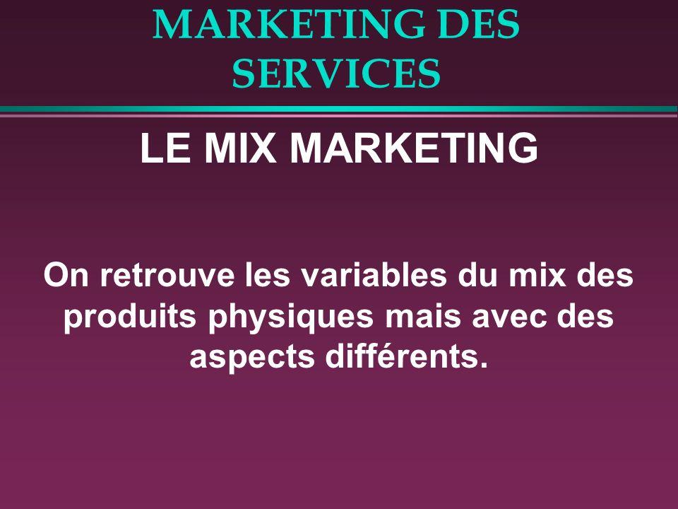 MARKETING DES SERVICES LE MIX MARKETING On retrouve les variables du mix des produits physiques mais avec des aspects différents.