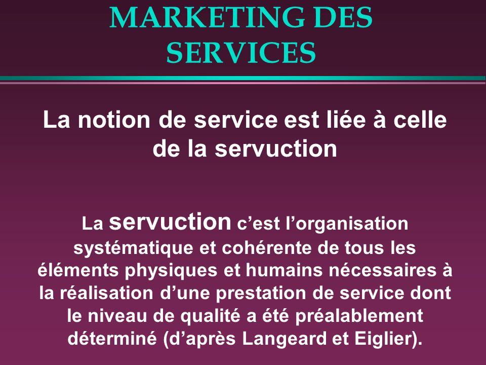 MARKETING DES SERVICES La notion de service est liée à celle de la servuction La servuction cest lorganisation systématique et cohérente de tous les é