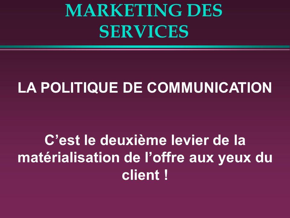 MARKETING DES SERVICES LA POLITIQUE DE COMMUNICATION Cest le deuxième levier de la matérialisation de loffre aux yeux du client !