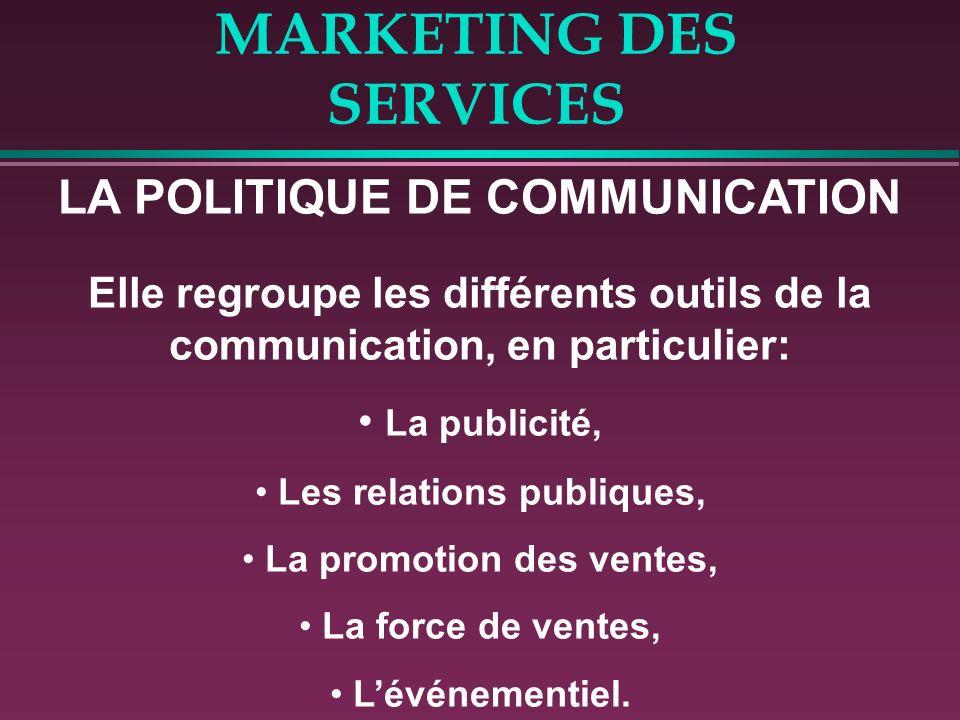 MARKETING DES SERVICES LA POLITIQUE DE COMMUNICATION Elle regroupe les différents outils de la communication, en particulier: La publicité, Les relati