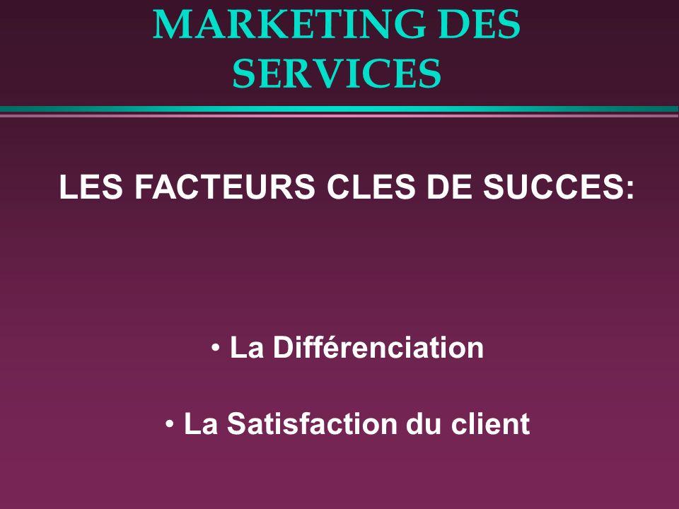 MARKETING DES SERVICES LES FACTEURS CLES DE SUCCES: La Différenciation La Satisfaction du client