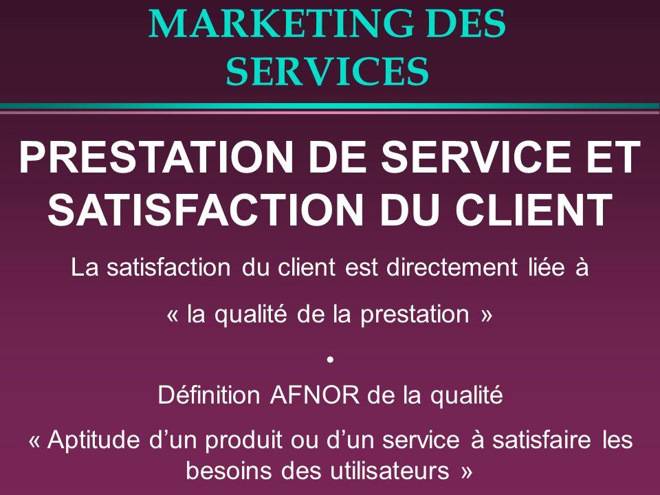 MARKETING DES SERVICES PRESTATION DE SERVICE ET SATISFACTION DU CLIENT La satisfaction du client est directement liée à « la qualité de la prestation