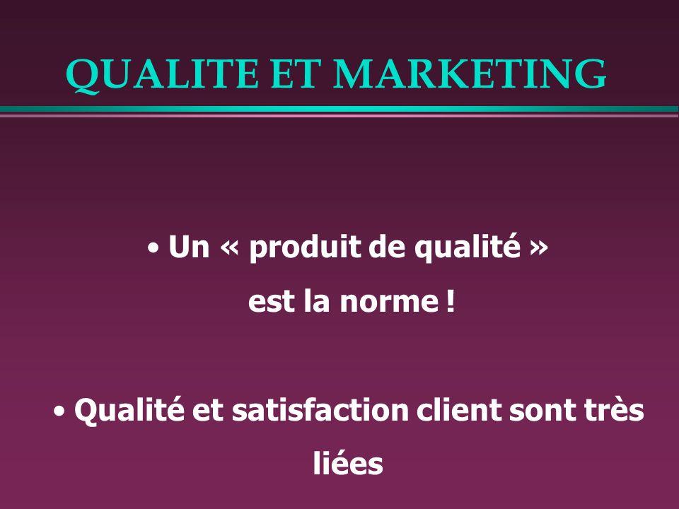 Un « produit de qualité » est la norme ! Qualité et satisfaction client sont très liées