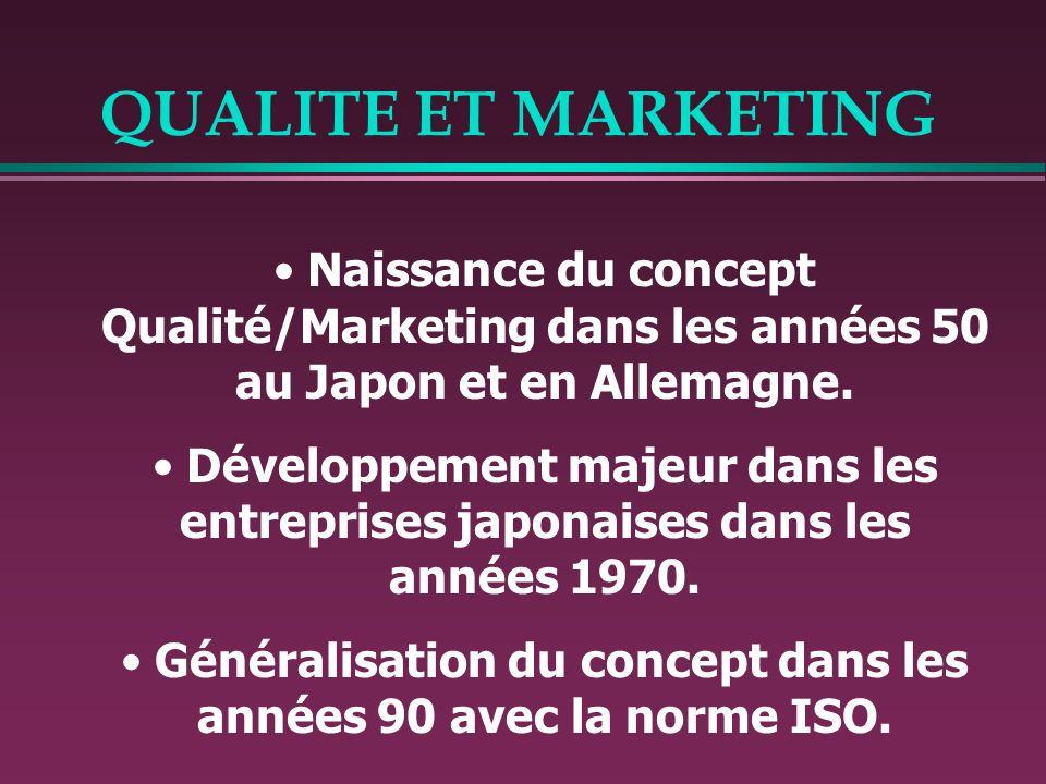 QUALITE ET MARKETING Naissance du concept Qualité/Marketing dans les années 50 au Japon et en Allemagne. Développement majeur dans les entreprises jap