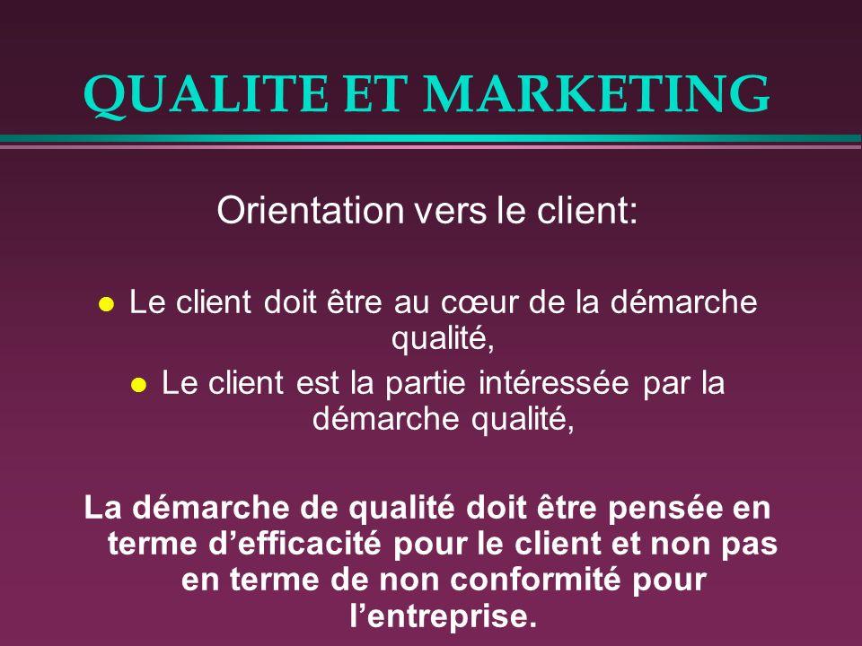 QUALITE ET MARKETING Orientation vers le client: l Le client doit être au cœur de la démarche qualité, l Le client est la partie intéressée par la dém