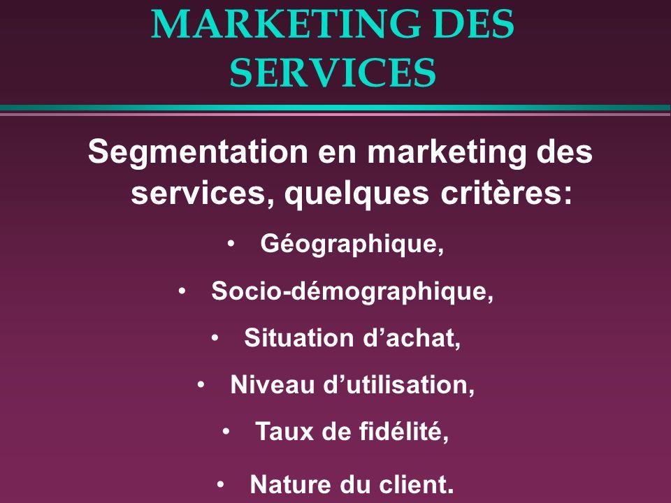 MARKETING DES SERVICES Segmentation en marketing des services, quelques critères: Géographique, Socio-démographique, Situation dachat, Niveau dutilisa
