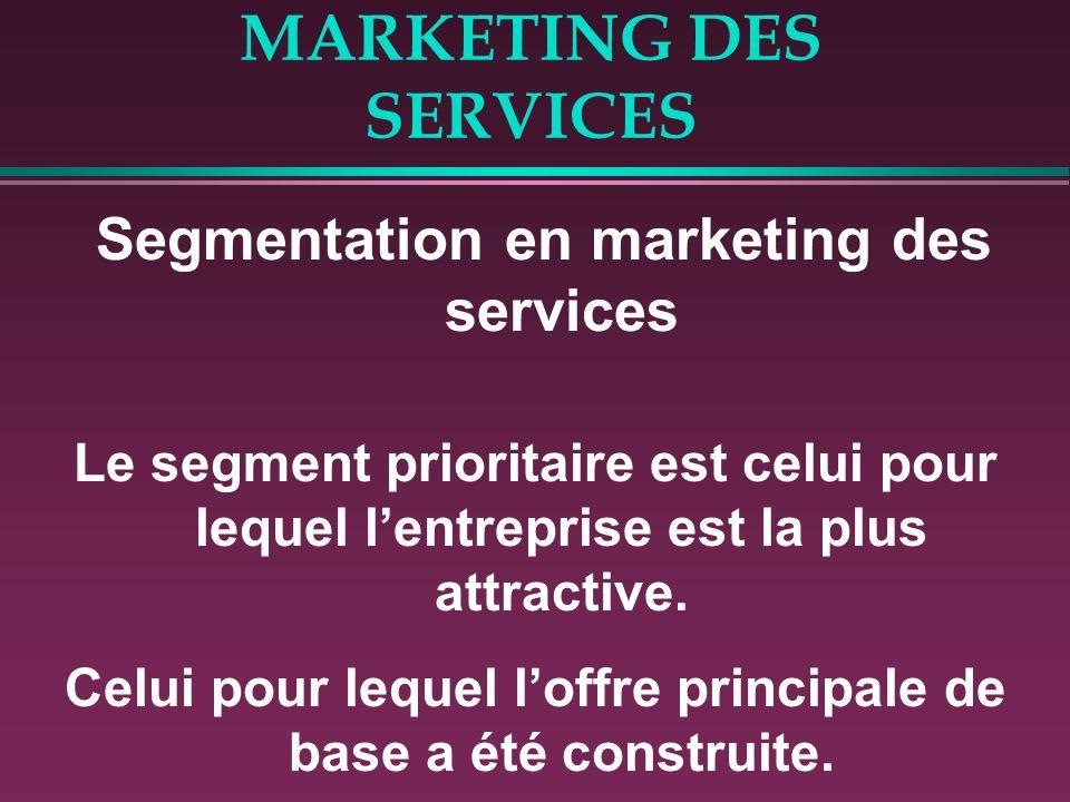 MARKETING DES SERVICES Segmentation en marketing des services Le segment prioritaire est celui pour lequel lentreprise est la plus attractive. Celui p
