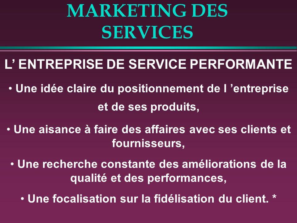 MARKETING DES SERVICES L ENTREPRISE DE SERVICE PERFORMANTE Une idée claire du positionnement de l entreprise et de ses produits, Une aisance à faire d