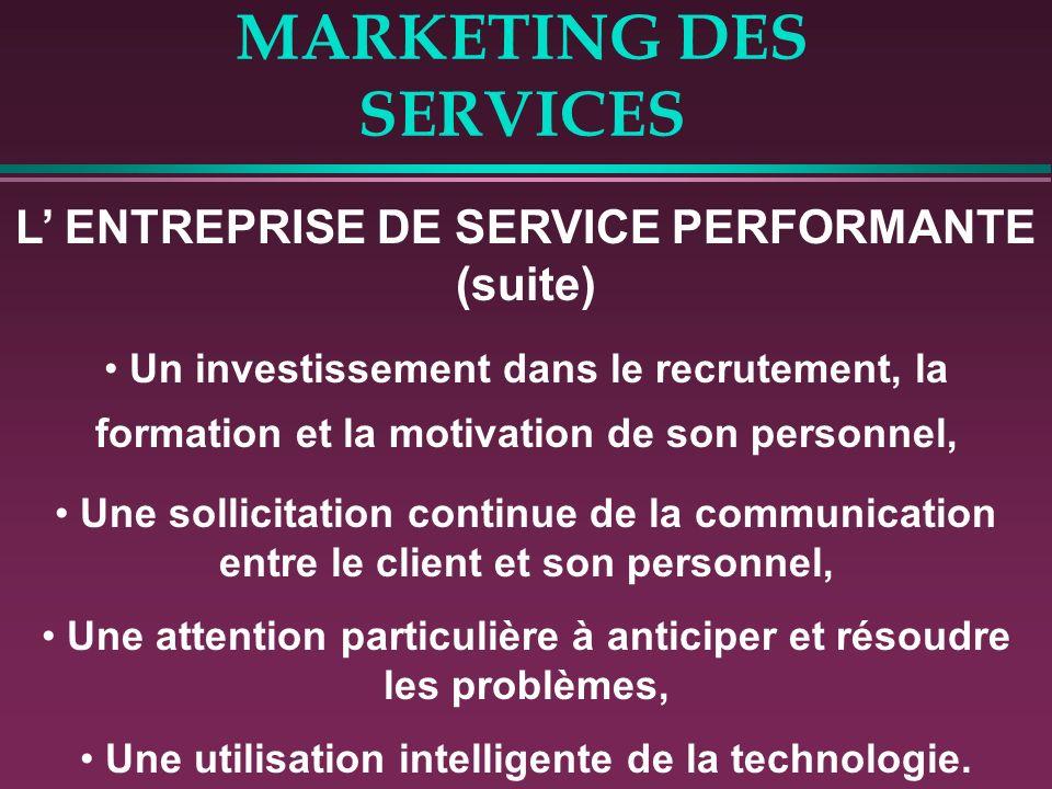 MARKETING DES SERVICES L ENTREPRISE DE SERVICE PERFORMANTE (suite) Un investissement dans le recrutement, la formation et la motivation de son personn
