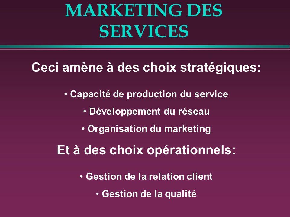 MARKETING DES SERVICES Ceci amène à des choix stratégiques: Capacité de production du service Développement du réseau Organisation du marketing Et à d