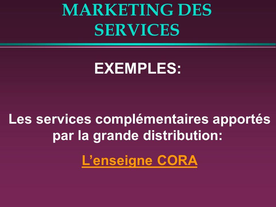 MARKETING DES SERVICES EXEMPLES: Les services complémentaires apportés par la grande distribution: Lenseigne CORA