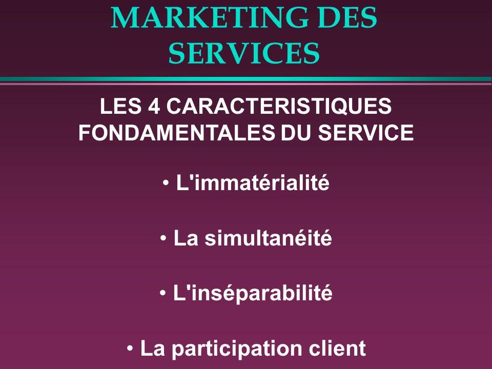 MARKETING DES SERVICES LES 4 CARACTERISTIQUES FONDAMENTALES DU SERVICE L'immatérialité La simultanéité L'inséparabilité La participation client