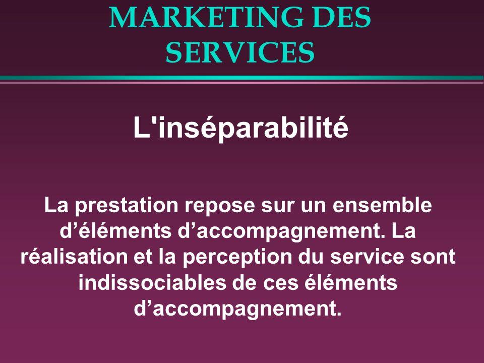 MARKETING DES SERVICES L'inséparabilité La prestation repose sur un ensemble déléments daccompagnement. La réalisation et la perception du service son