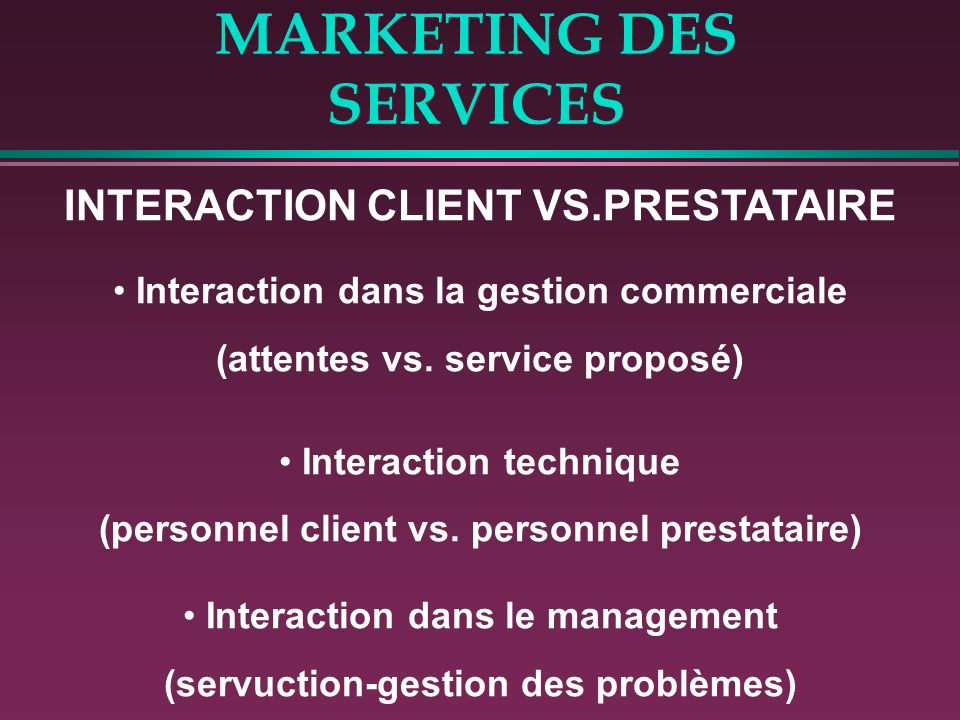 MARKETING DES SERVICES INTERACTION CLIENT VS.PRESTATAIRE Interaction dans la gestion commerciale (attentes vs.