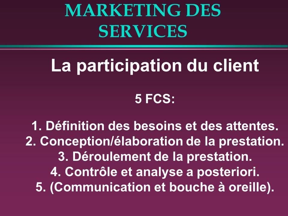 MARKETING DES SERVICES La participation du client 5 FCS: 1.Définition des besoins et des attentes. 2.Conception/élaboration de la prestation. 3.Déroul