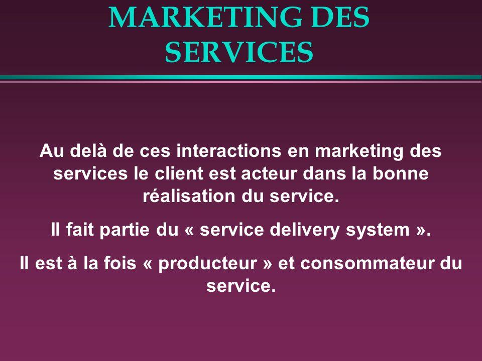 MARKETING DES SERVICES Au delà de ces interactions en marketing des services le client est acteur dans la bonne réalisation du service. Il fait partie