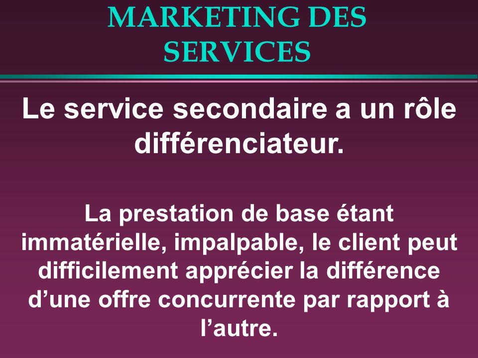 MARKETING DES SERVICES Le service secondaire a un rôle différenciateur. La prestation de base étant immatérielle, impalpable, le client peut difficile