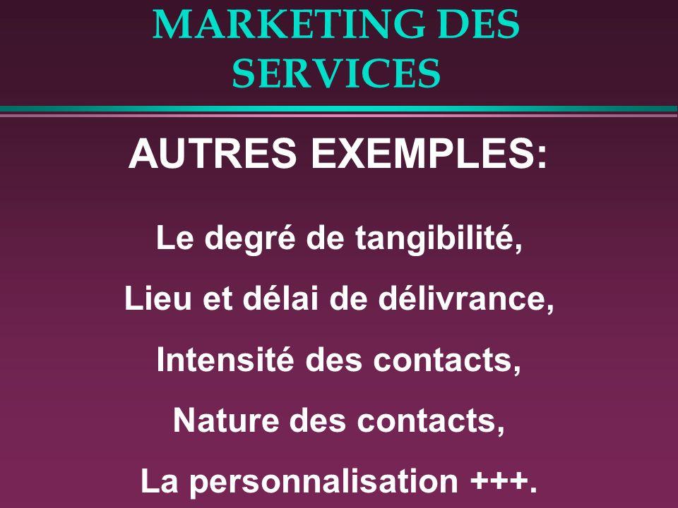 MARKETING DES SERVICES AUTRES EXEMPLES: Le degré de tangibilité, Lieu et délai de délivrance, Intensité des contacts, Nature des contacts, La personna