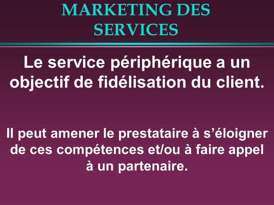 MARKETING DES SERVICES Le service périphérique a un objectif de fidélisation du client. Il peut amener le prestataire à séloigner de ces compétences e