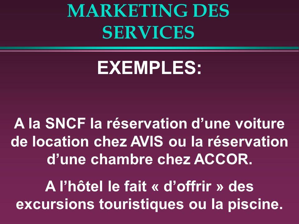 MARKETING DES SERVICES EXEMPLES: A la SNCF la réservation dune voiture de location chez AVIS ou la réservation dune chambre chez ACCOR. A lhôtel le fa
