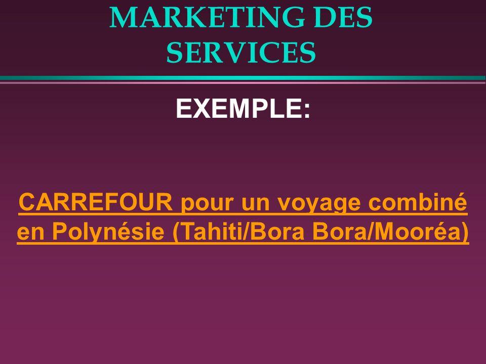 MARKETING DES SERVICES EXEMPLE: CARREFOUR pour un voyage combiné en Polynésie (Tahiti/Bora Bora/Mooréa)