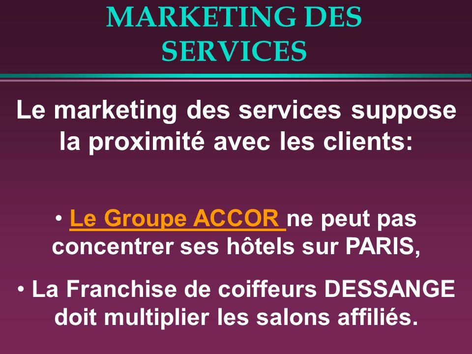 MARKETING DES SERVICES Le marketing des services suppose la proximité avec les clients: Le Groupe ACCOR ne peut pas concentrer ses hôtels sur PARIS,Le