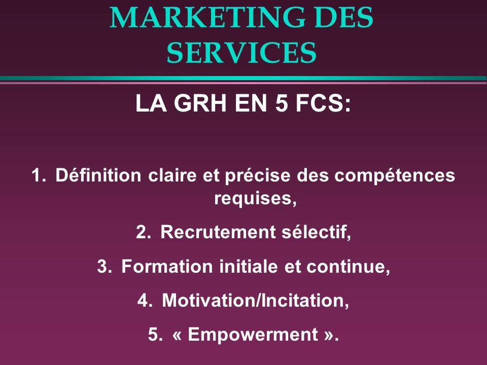 MARKETING DES SERVICES LA GRH EN 5 FCS: 1.Définition claire et précise des compétences requises, 2.Recrutement sélectif, 3.Formation initiale et conti