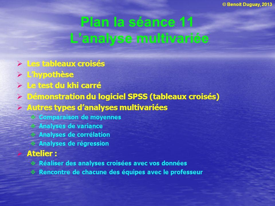 © Benoit Duguay, 2013 Plan la séance 11 Lanalyse multivariée Les tableaux croisés Lhypothèse Le test du khi carré Démonstration du logiciel SPSS (tabl