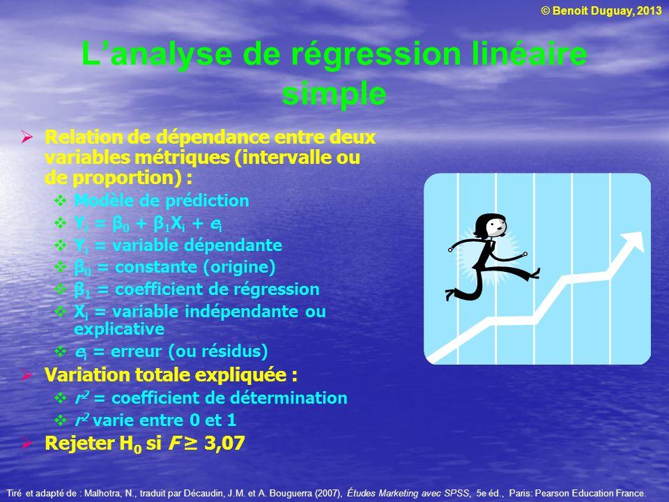 © Benoit Duguay, 2013 Lanalyse de régression linéaire simple Relation de dépendance entre deux variables métriques (intervalle ou de proportion) : Mod