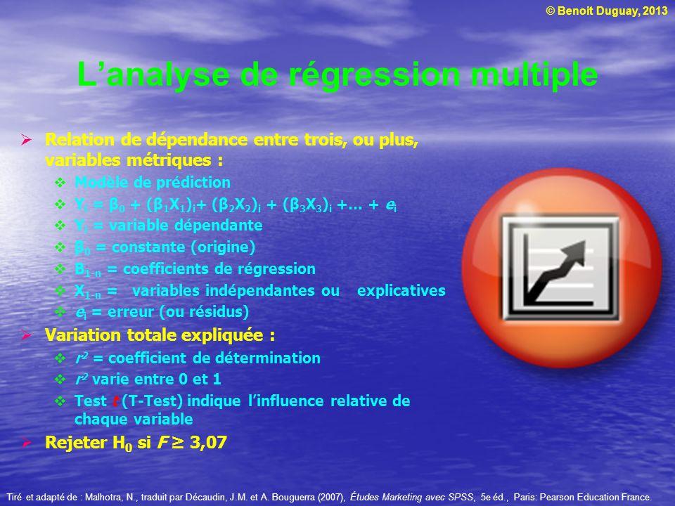 © Benoit Duguay, 2013 Lanalyse de régression multiple Relation de dépendance entre trois, ou plus, variables métriques : Modèle de prédiction Y i = β