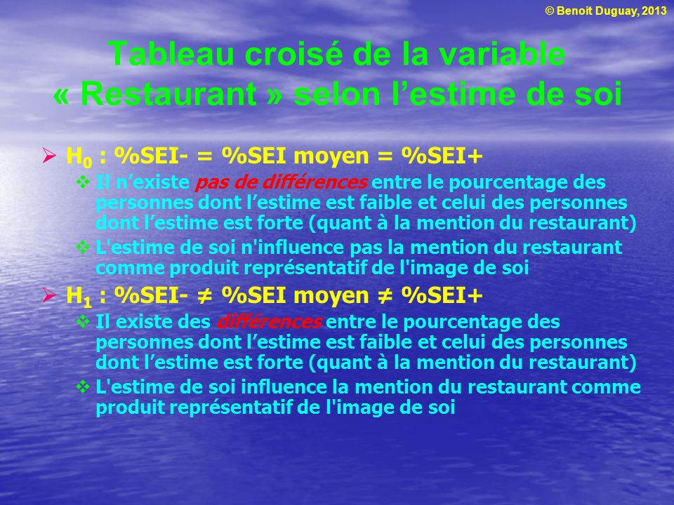 © Benoit Duguay, 2013 Moyennes appareillées Test en t (T-Test) Hypothèse : H 0 : μ 1 = μ 2 (les moyennes sont identiques) H 1 : μ 1 μ 2 (les moyennes sont différentes) Si les moyennes sont identiques, il existe une relation entre les deux variables Rejeter H 0 si t > 1,98 ou t < -1,98 p 0,05, seuil de signification 95 % Tiré et adapté de : Malhotra, N., traduit par Décaudin, J.M.