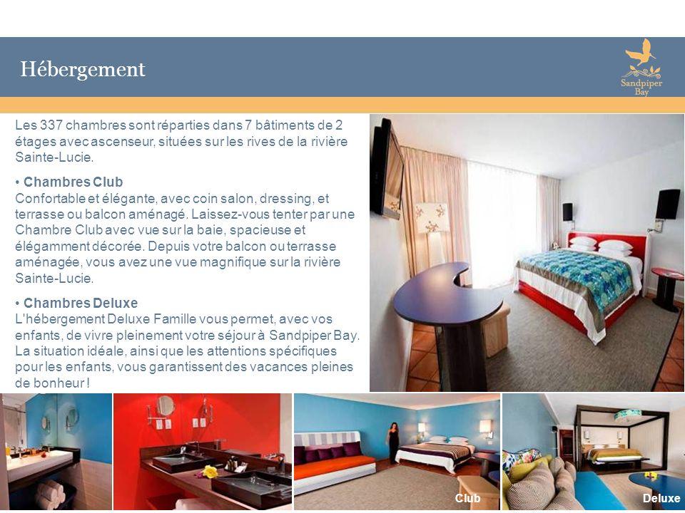 6 Hébergement Les 337 chambres sont réparties dans 7 bâtiments de 2 étages avec ascenseur, situées sur les rives de la rivière Sainte-Lucie. Chambres