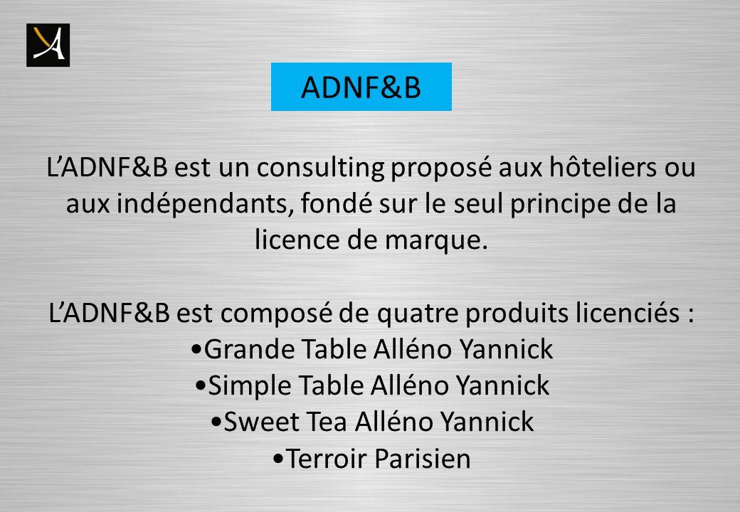 ADNF&B LADNF&B est un consulting proposé aux hôteliers ou aux indépendants, fondé sur le seul principe de la licence de marque. LADNF&B est composé de