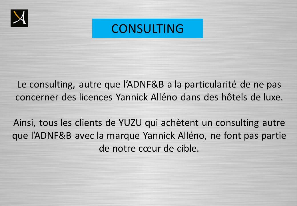 CONSULTING Le consulting, autre que lADNF&B a la particularité de ne pas concerner des licences Yannick Alléno dans des hôtels de luxe. Ainsi, tous le