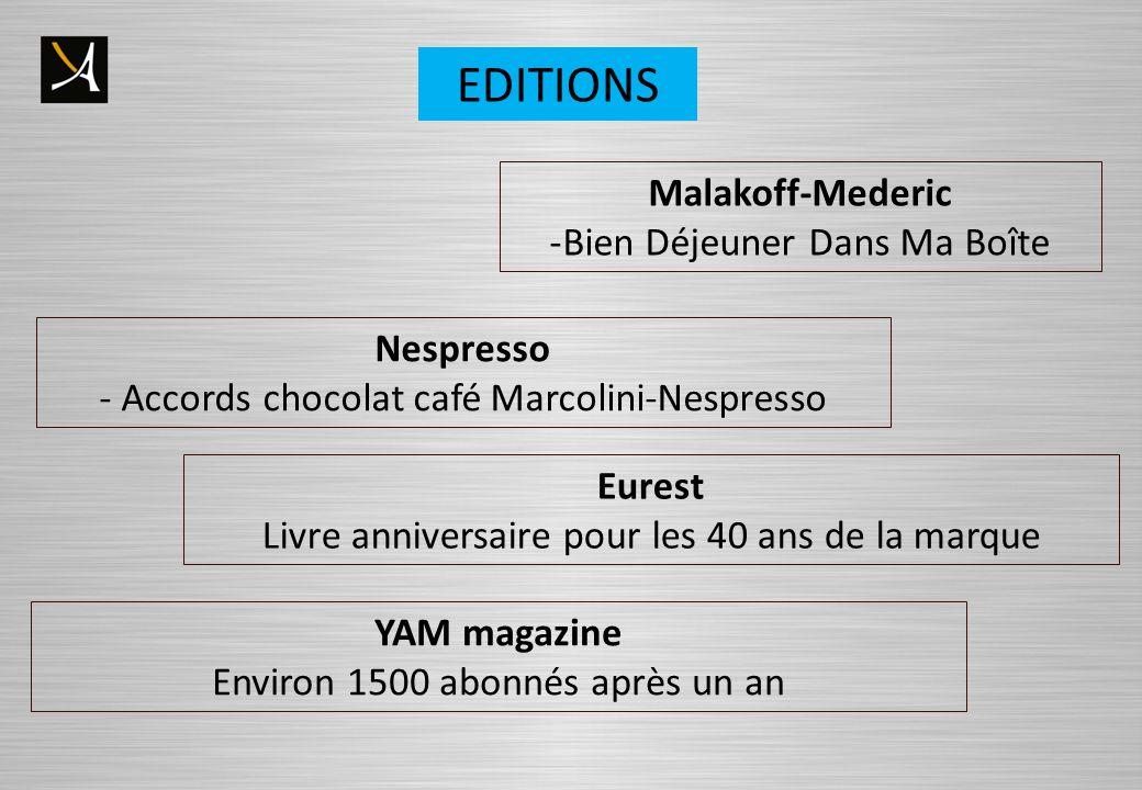 Nespresso - Accords chocolat café Marcolini-Nespresso Malakoff-Mederic -Bien Déjeuner Dans Ma Boîte Eurest Livre anniversaire pour les 40 ans de la marque EDITIONS YAM magazine Environ 1500 abonnés après un an