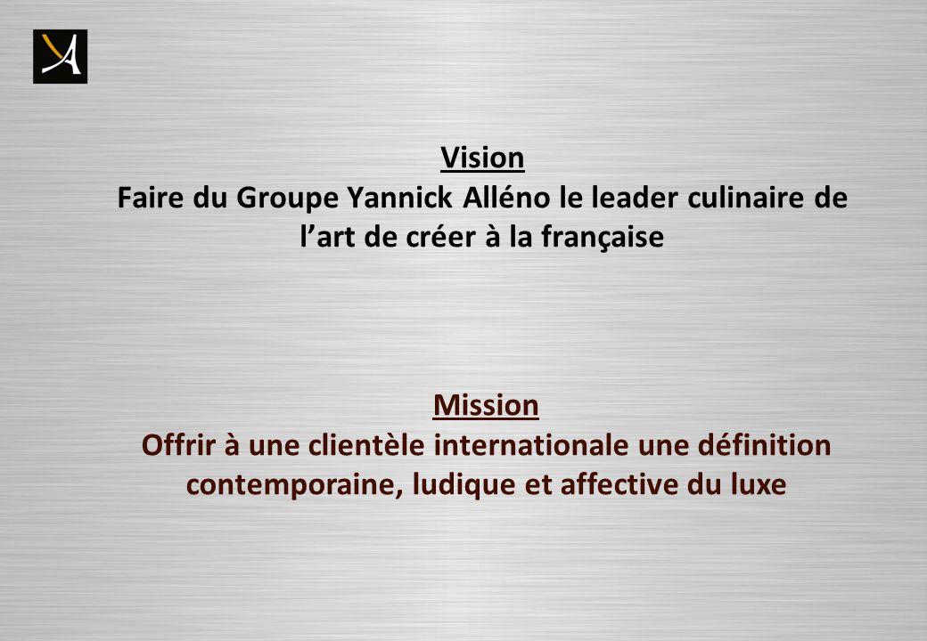 Vision Faire du Groupe Yannick Alléno le leader culinaire de lart de créer à la française Mission Offrir à une clientèle internationale une définition contemporaine, ludique et affective du luxe