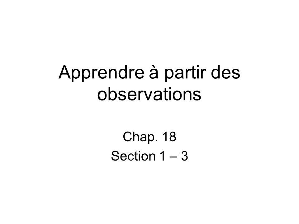 Apprendre à partir des observations Chap. 18 Section 1 – 3