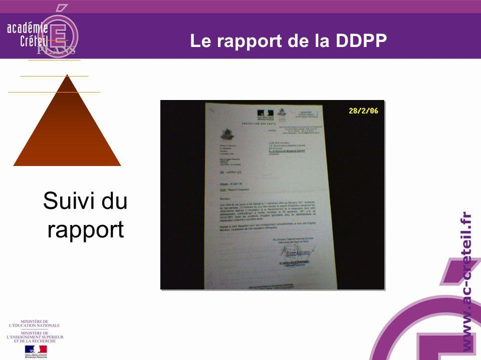Le rapport de la DDPP PLANS Suivi du rapport