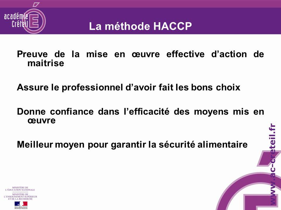 La méthode HACCP Preuve de la mise en œuvre effective daction de maitrise Assure le professionnel davoir fait les bons choix Donne confiance dans lefficacité des moyens mis en œuvre Meilleur moyen pour garantir la sécurité alimentaire
