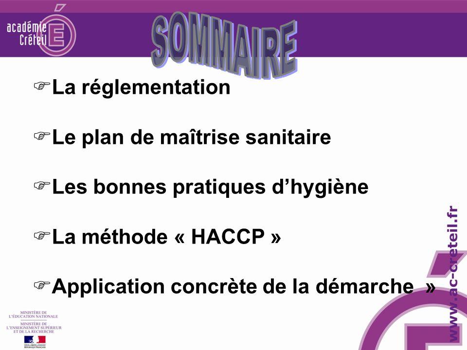La réglementation Le plan de maîtrise sanitaire Les bonnes pratiques dhygiène La méthode « HACCP » Application concrète de la démarche »