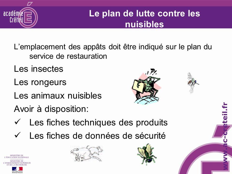 Le plan de lutte contre les nuisibles Lemplacement des appâts doit être indiqué sur le plan du service de restauration Les insectes Les rongeurs Les a