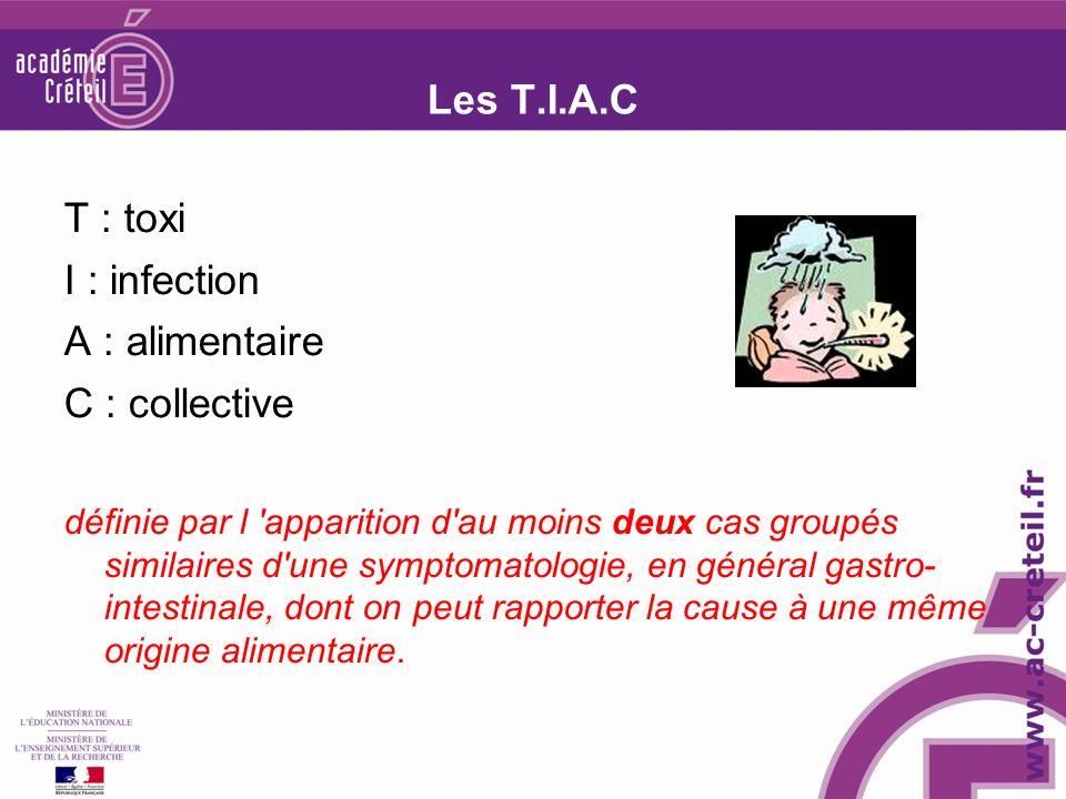 Les T.I.A.C T : toxi I : infection A : alimentaire C : collective définie par l apparition d au moins deux cas groupés similaires d une symptomatologie, en général gastro- intestinale, dont on peut rapporter la cause à une même origine alimentaire.