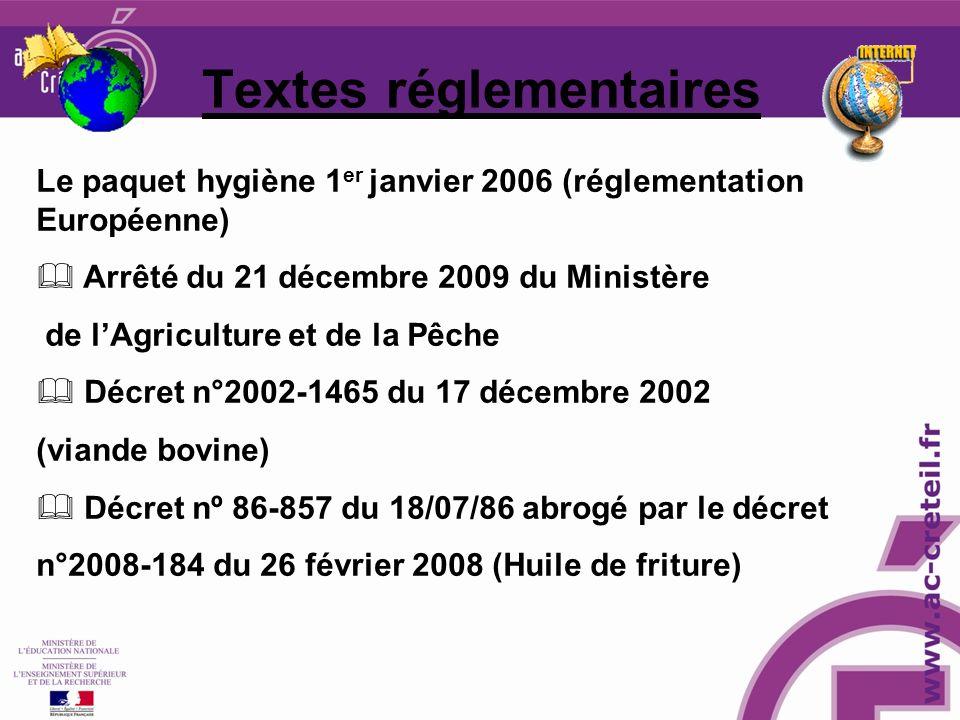 Le paquet hygiène 1 er janvier 2006 (réglementation Européenne) Arrêté du 21 décembre 2009 du Ministère de lAgriculture et de la Pêche Décret n°2002-1465 du 17 décembre 2002 (viande bovine) Décret nº 86-857 du 18/07/86 abrogé par le décret n°2008-184 du 26 février 2008 (Huile de friture) Textes réglementaires